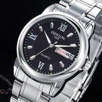 FEDYLON Luxury Men Full Stainless Steel Casual Quartz Watch Men Fashion Waterproof Business Calendar Watches Relogio