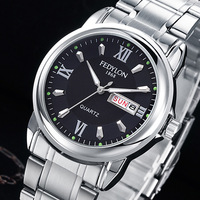 FEDYLON Luxury Men Full Stainless Steel Casual Quartz Watch Men Fashion Waterproof Business Calendar Watches Relogio
