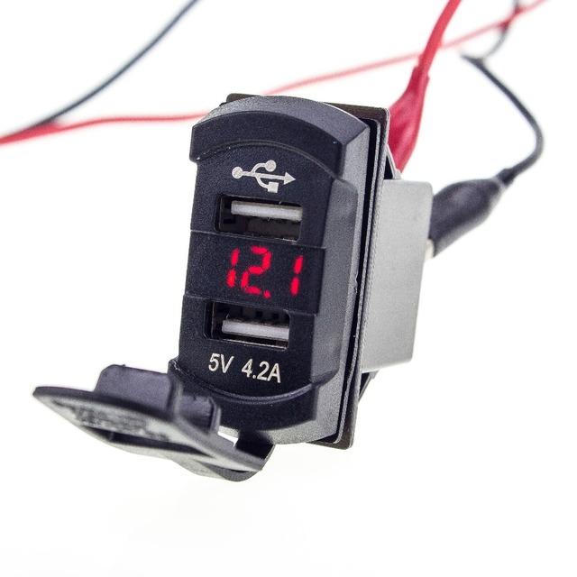 4.2A Carregador de Carro Dual USB Do Telefone À Prova D' Água Tomada Roqueiro Vermelho Estilo LED Voltage Meter Voltímetro Para Motocicleta Barco Do Caminhão Do Carro