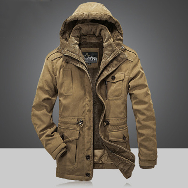 20ce36ffbdf4 Men s Winter Thicken Warm Hooded Military Brand Army Green Jacket Coat Men  Cotton 2018 jeep khaki