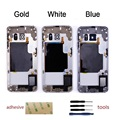 For Samsung Galaxy S6 edge Back Middle Frame Rear Housing Cover Bezel Replacement+Sticker+Kits