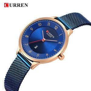 Image 2 - Curren שעון כחול זהב נשים שעונים אנלוגי קוורץ Ultra דק נירוסטה ספורט נשים שעונים עמיד למים גבירותיי שעון Saat