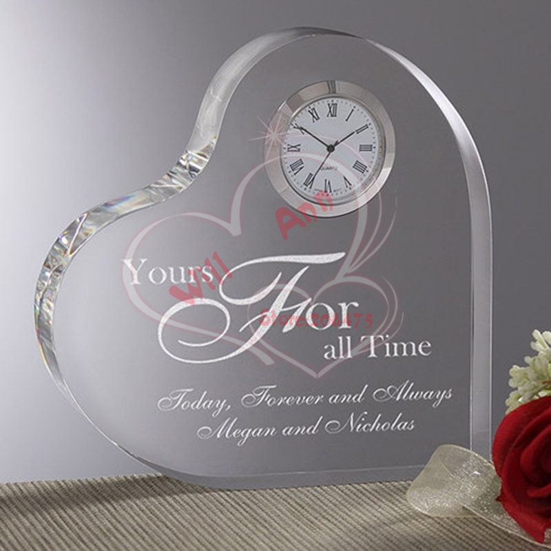 50pcs Lot Wedding Crystal Clock Heart Paperweight Gifts Favors For Guests In Statues Sculptures From Home Garden On Aliexpress