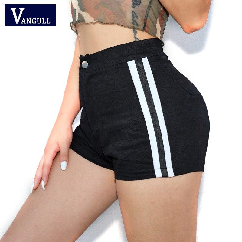 Vangull Black Side Striped   Shorts   Women's Sexy Skinny Pockets Cotton   Shorts   Streetwear 2019 New High Waist   Shorts   Feminino