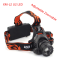 FREE SHIIPING 2000LM CREE XM-L L2 LED Rechargeable Adjustable Zoomable Zoom Headlamp Headlight 18650 Battery