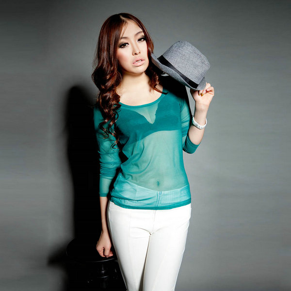 Spring Women Sexy See Through Long Sleeve Tees Ladies T Shirts Casual Blusas