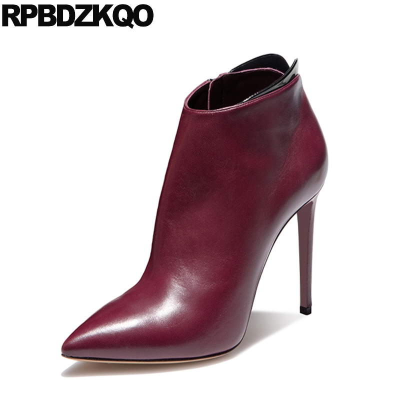Shoes Ankle Genuine Leather High Heel Wine Red Stiletto Booties Sexy Fur Winter Quality Real Designer Women Luxury 2017 Short