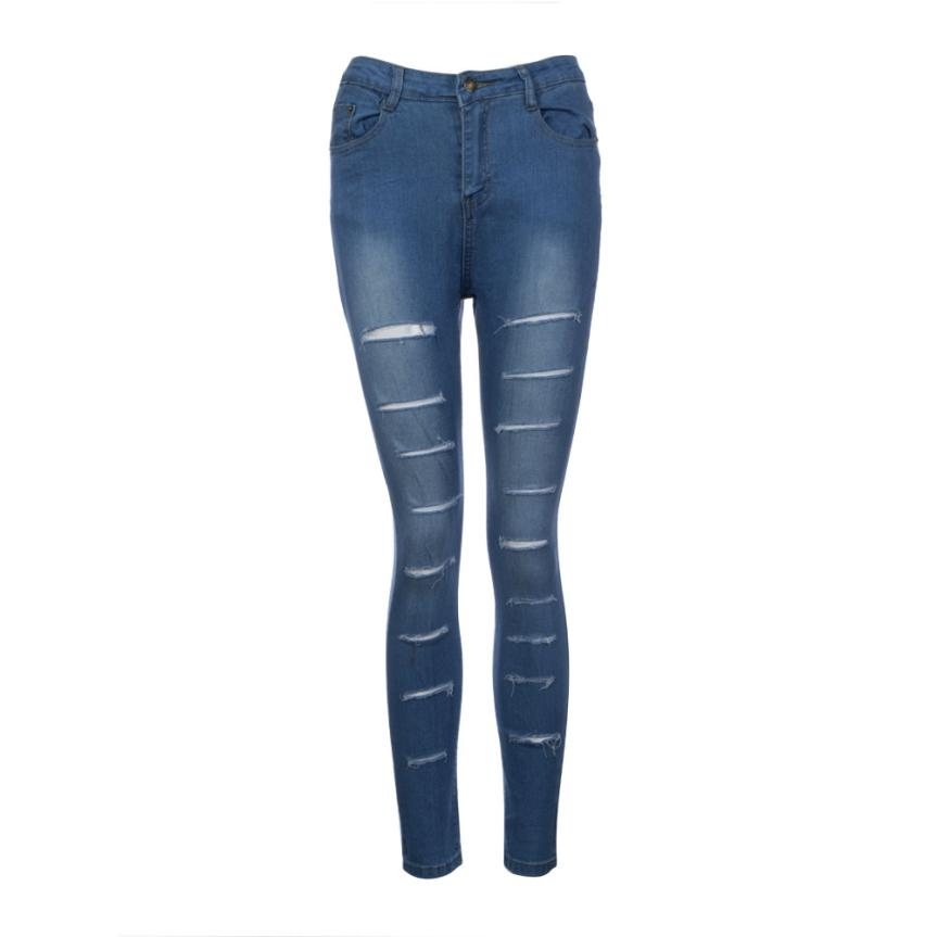 US Women Denim Skinny Ripped Pants High Waist Stretch Jeans Slim Pencil Trousers