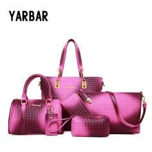 Autumn Famous Brand Women Bags Top-Handle Fashion Gradient Color Women Messenger Bag Handbag 6 Psc/Set PU Leather Casual Bags