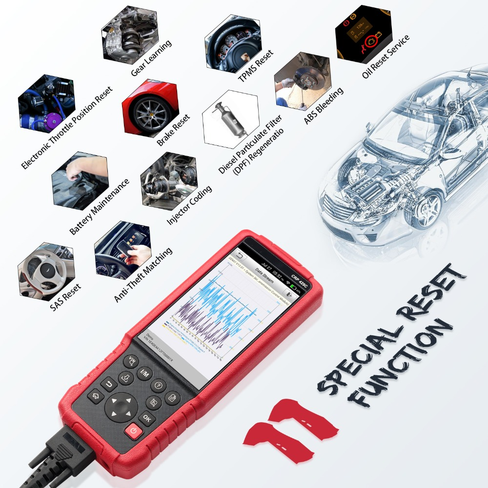 LAUNCH CRP429C CRP 429 OBD2 Diagnostic Tool voor Motor/ABS/Airbag/AT + 11 Service Een klik Update Auto Code Reader PK FX4000 obd2