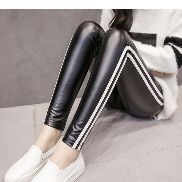 3534dd2a6fe3d JUJULAND 2018 Free dropshipping Women Hot Sexy Black Wet Look Faux Leather  Leggings Slim Shiny Pants Plus size S M L XL XXL