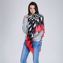 new womens winter thermal scarf plaid designer luxury brand geometric pattern opening shawl