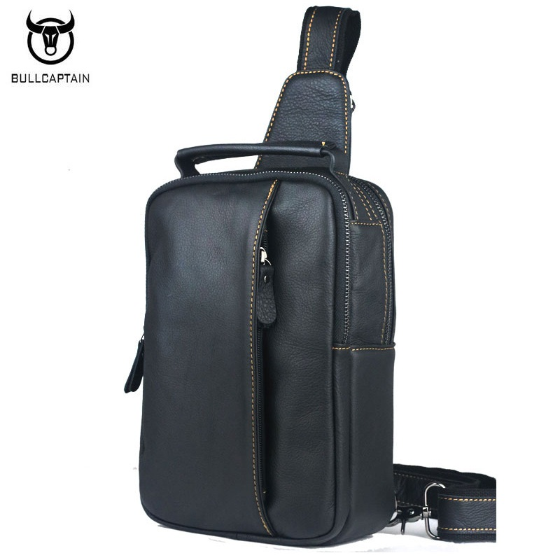BULLCAPTAIN Brand Designer Men bag Genuine leather Leisure Man Shoulder Crossbody Bags Fashion Chest Pack Men Messenger Bags ce passed waiter call button bell system 4 wrist pager 36 table transmitter used in the cafe house