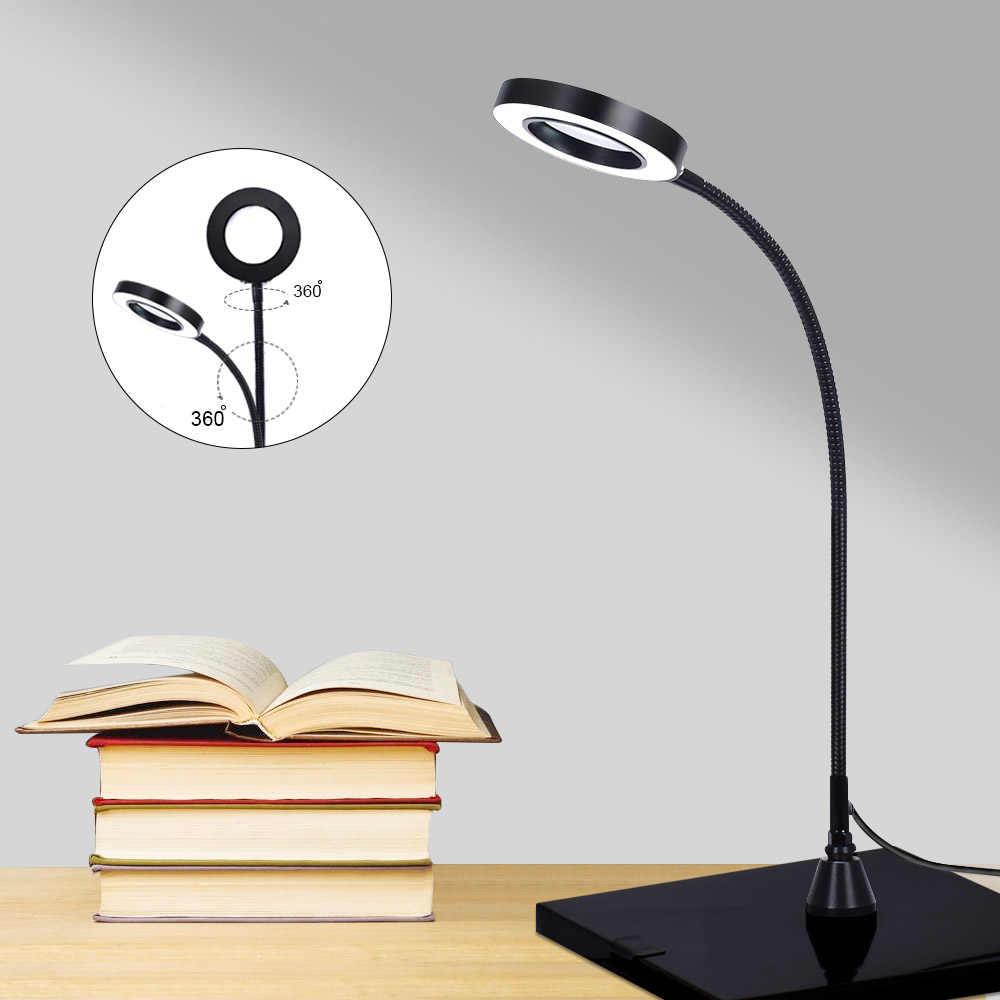 NEWACALOX, USB, fuerte, magnética, 3X, lupa LED de aumento, lupa iluminada, brazo Flexible para soldadura de banco de trabajo de lectura