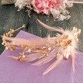 Casamento Headwear Retro Asiático Ouro Pérolas Faixa de Cabelo de Penas Vestidos de Noiva Do Casamento Da Coroa Da Noiva Acessórios 1320