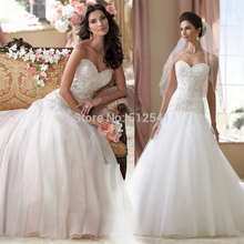 Brand Design Sweetheart Trumpet Mermaid Wedding Dresses Beads Ruffle Sweep Train Bridal Gowns yk1A362