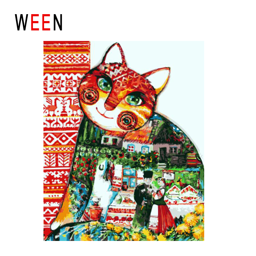 WEEN Cat House Diy Painting By Numbers Abstract Lovers Garden Oil Painting On Canvas Cuadros Decoracion Acrylic Wall Art 2018 in Painting Calligraphy from Home Garden