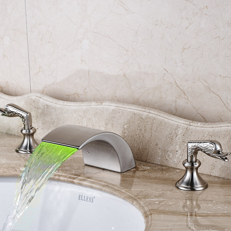 Widespread Bathroom Waterfall Basin Sink Faucet with LED Light Deck Mounted Brushed Nickel Finished deck mounted 5pcs widespread bathroom tub faucet with hand shower nickel brushed finished