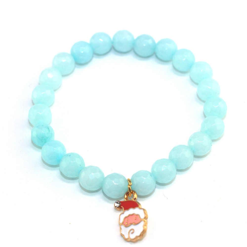2018 cadeau De noël Pulsera De Mujer bleu rouge Jade perlé Bracelet Simple noël père noël arbre De noël Couple Bracelet