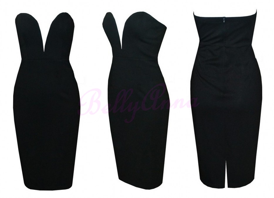 Online Shop Sexy Strapless Bodycon Stretch Knee Length Vintage ...