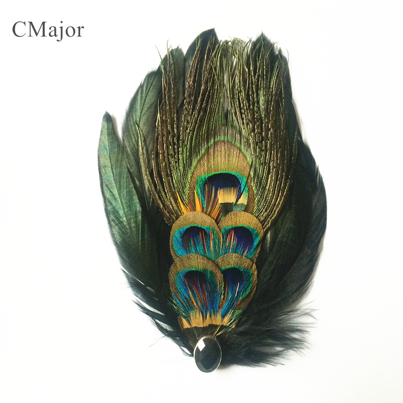 CMajor Rooest Feather Mix Peacock Feather Gorgeous Barrettes Hairband For Women Hair Jewelry Accessories