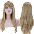 "Women Girl's Charming Thick  Full Wigs 23"" Long Straight Ash Blonde Oblique Bangs Synthetic Hair Wig High Hat Resistant"