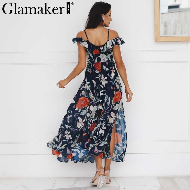 ... Glamaker Boho flower print ruffle beach dress Women split v neck maxi  dress sundress Sexy club ...