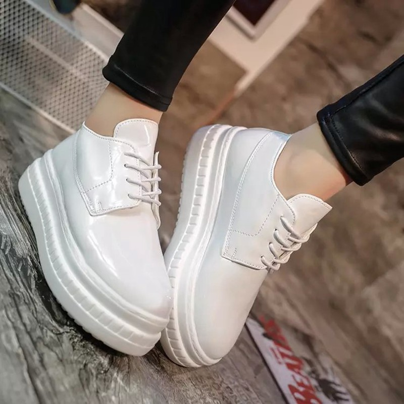 35-39 Fashion Patent Leather Shoes Woman Handmade Designer Ladies Loafers Flat Platform Shoes For Women Creepers Casual Flats