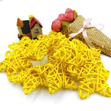 10Pcs 6Cm Yellow Lovely Rattan Star Sepak Takraw Christmas Birthday Wedding Party Decorations DIY Kid