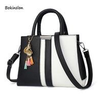 2018New PU Material Women's Handbag Black And White Retro Fashion Big Bag Handbag Shoulder Messenger Bag