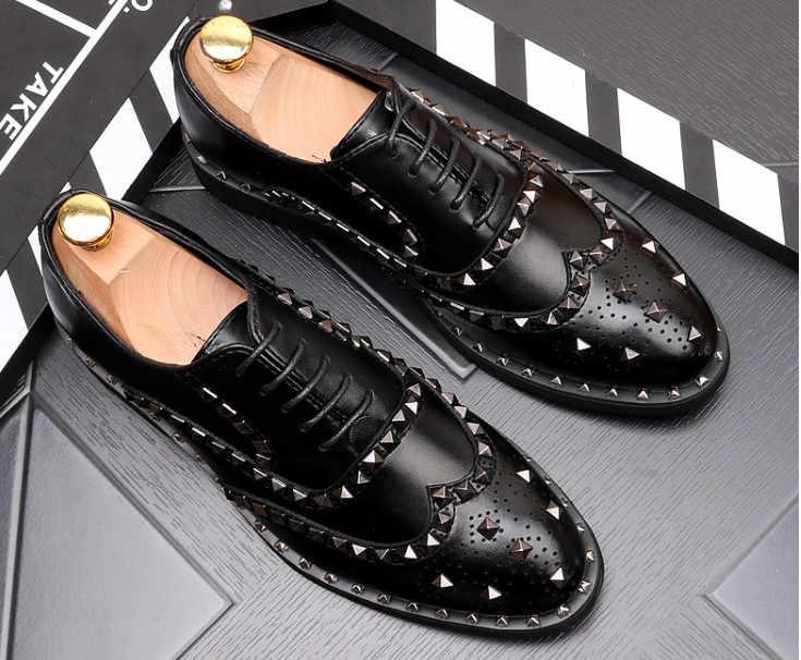 Zomer Mannen Mode Wees Tenen Jeugd Klinknagel Lederen Platte Kleding Schoenen Mannen Engeland Stijl Retro Loafers Gratis Verzending