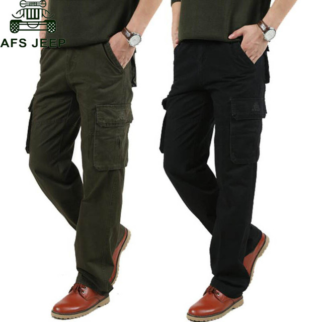 AFS JEEP Mens Cargo Pants Plus Size 46 Casual Fashion Army Military Male Trousers Multi-pockets Straight Pants For Men