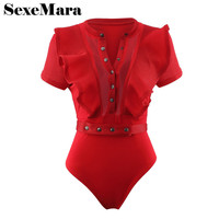 Ruffle Mesh Transparent Sexy Bodysuit Women Beachwear Swimsuit Fashion Summer Overalls Short Jumpsuit Bodycon Rompers D34