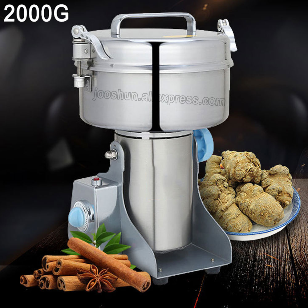 Swing Type Large-scale 2Kg Stainless Steel Grains Food Mill Major Grinding Machine Spice, Chinese Herb Grinder Food Pulverizer high quality 1500g swing type stainless steel electric medicine grinder powder machine ultrafine grinding mill machine