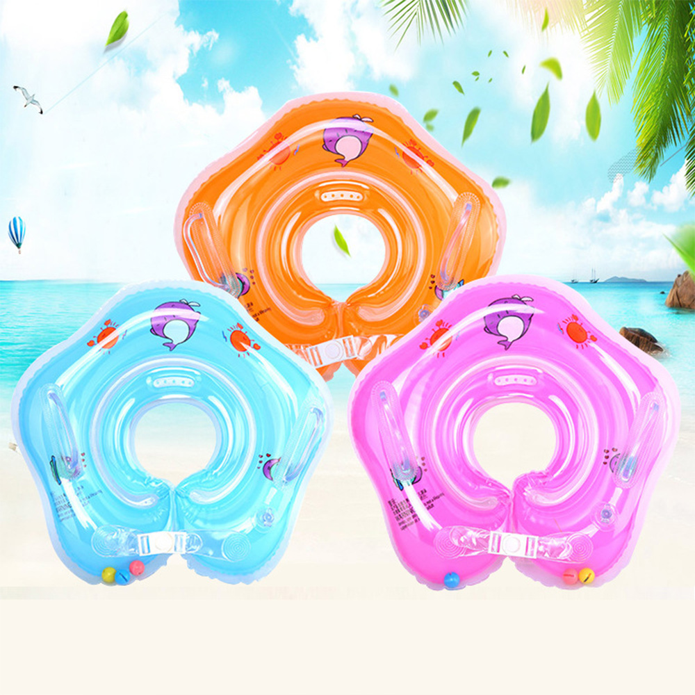 0-4 Years Infant Ring Inflatable Double Protection Baby Float Ring Leakproof Adjustable Summer Water Toy Swimming Accessories