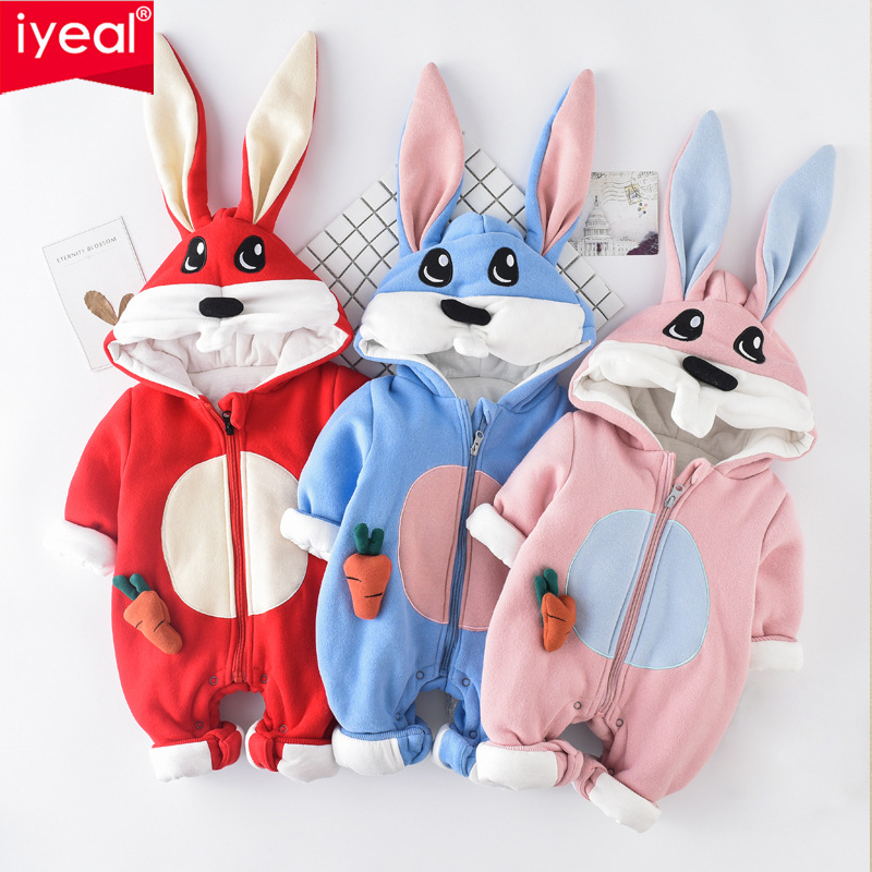 IYEAL Cute Cartoon Flannel Baby Rompers Rabbit Hooded Warm Cotton Animal Winter Overalls for Children Newborn Boy Girl Clothes iyeal baby rompers warm soft flannel winter baby clothes cartoon animal 3d ears children girls jumpsuit newborn infant romper