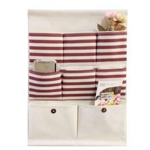 8 bolsillos Vintage Stripe Lino almacenamiento para colgar en el armario bolsa organizador puerta Rack pared titular decoración cosméticos misceláneas hogar