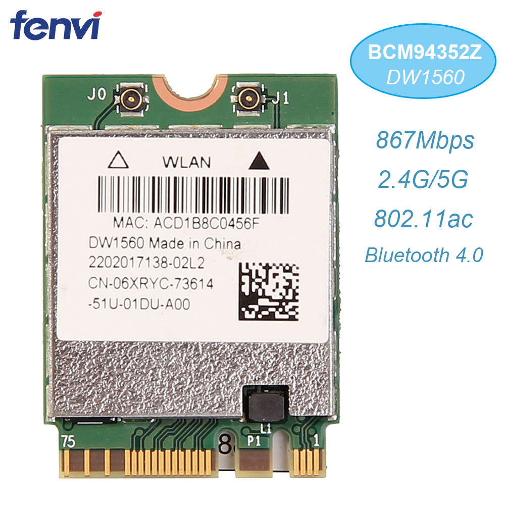 Inalámbrico AC1200 Broadcom BCM94352Z DW1560 867Mbps BT 4,0 802.11ac NGFF M.2 WiFi tarjeta WLAN para ventana portátil Mac Hackintosh OS