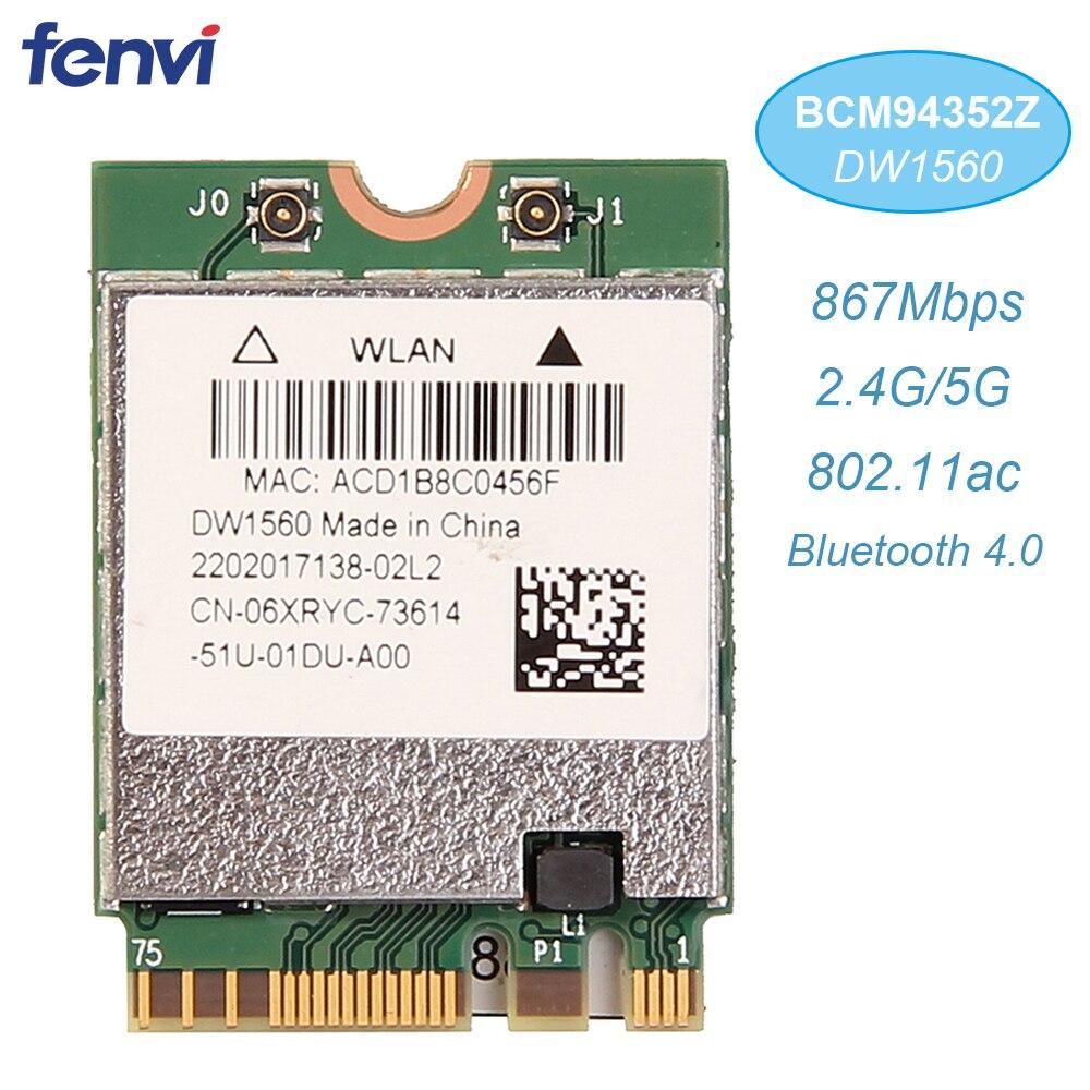 Sans fil AC1200 Broadcom BCM94352Z DW1560 867Mbps Bluetooth 4.0 802.11ac NGFF M.2 WiFi carte WLAN pour fenêtre d'ordinateur portable Mac Hakintosh