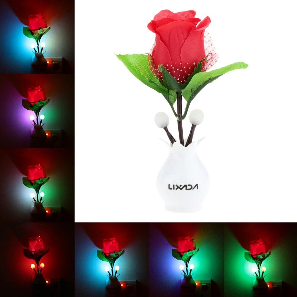 New Led Color Change Night Light Eu Plug Red Rose Flower Plant