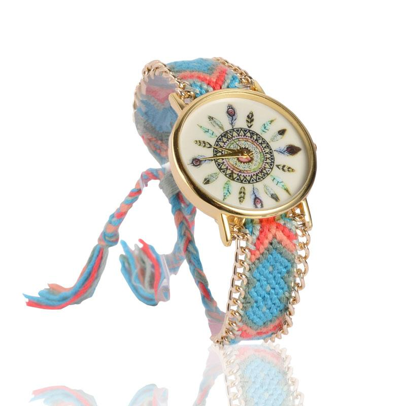 Braided Cotton Cord Bracelet Watches for Women Colorful Ladies Quarzt Watches relogio feminino peace dove tree braided bracelet