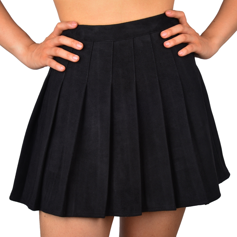 SJJH New fashion Women Pleated High Waist Skirts Ladies Faux Suede Leather Preppy Style Winter Mini Skirts Party Sexy Skirts image
