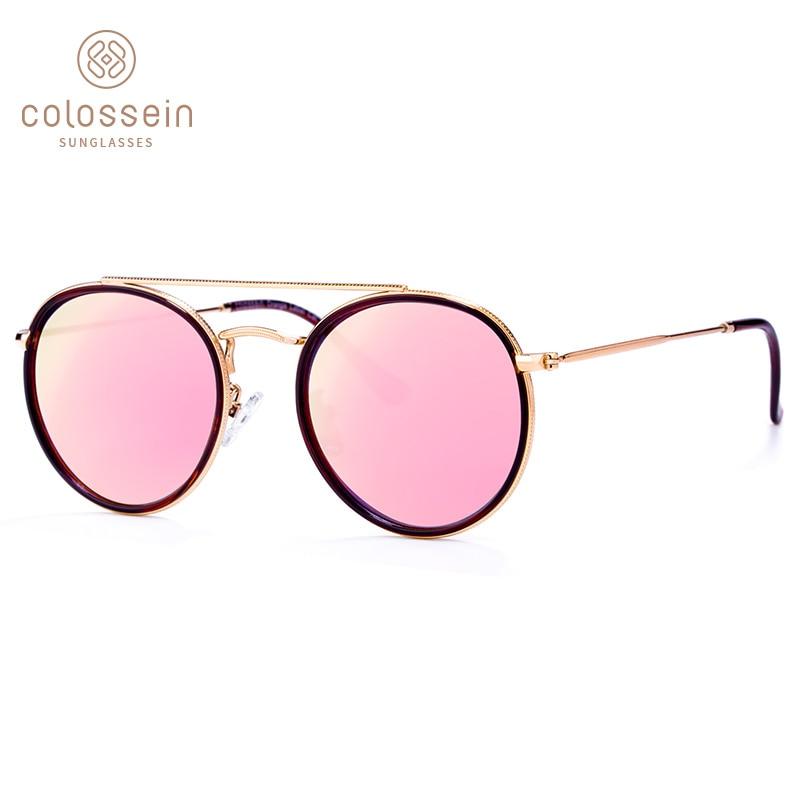 COLOSSEIN Polarized Sunglasses Women Fashion Metal Oval Frame Polarized Lenses Female Retro Eyewear Glasses Gafas De Sol UV400