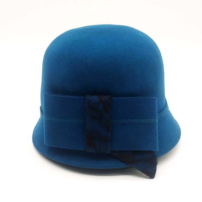 QPALCR Elegante Signore di Lana Feltro Bowler Fedora Cappelli Nero Rosso  Blu di Inverno Delle Donne di Grandi Dimensioni di Bowknot A Tesa Larga  Chiesa ... 1b4aebf7f82b