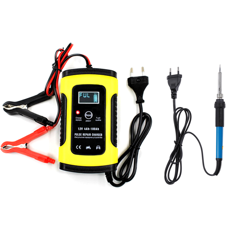 Yangtze 12V 6A Lead Acid Battery Intelligent Digital LCD Display Car Charger and  60W  Electric Soldering Iron Heat Pencil|Chargers| |  - title=