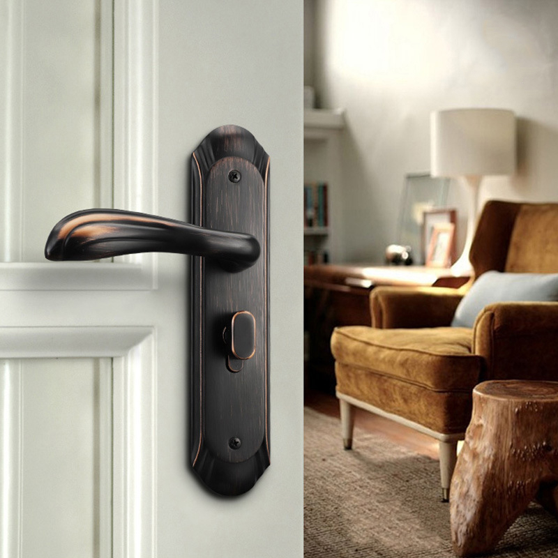 American Zinc Alloy Personal Protection Home Lock Black Gold Furniture Handle Door Locks For Bedroom Silent Indoor LocksAmerican Zinc Alloy Personal Protection Home Lock Black Gold Furniture Handle Door Locks For Bedroom Silent Indoor Locks