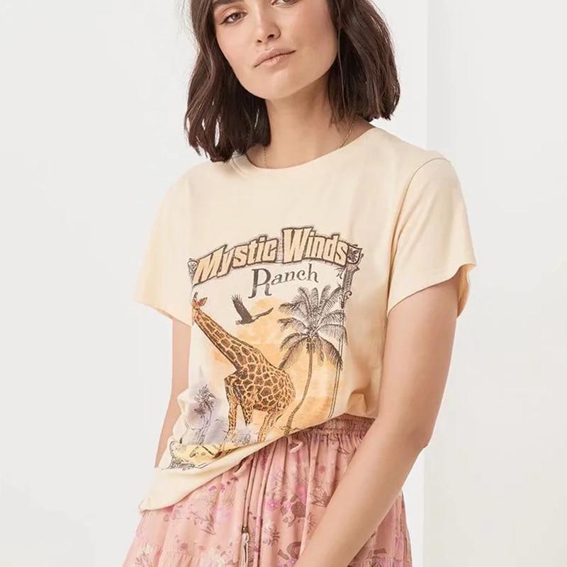 KHALEE YOSE Summer Graphic Tees Beige Boho Tshirt Women 2019 Cotton Vintage Hippie Gypsy Top Bohemian Tee T Shirt Female Letter