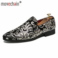 movechain Men's Fashion Embroidery Soft Loafers Mens Casual Driving Moccasins Shoes Youth Trendy Wedding Party Flats Sizes 38 45