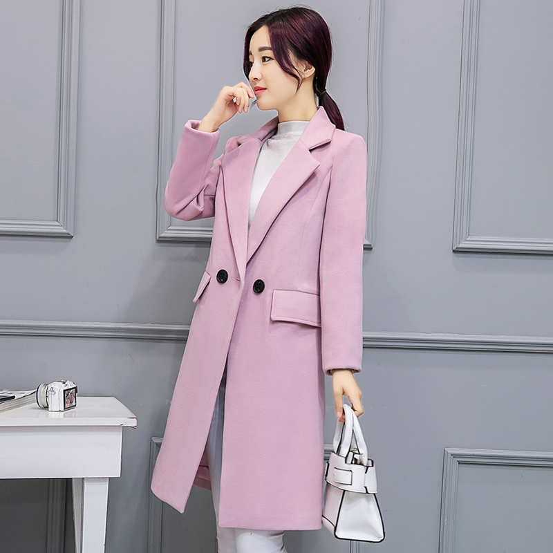 Ms Spring and Autumn In the long section Thicker Self cultivation Woolen font b jacket b