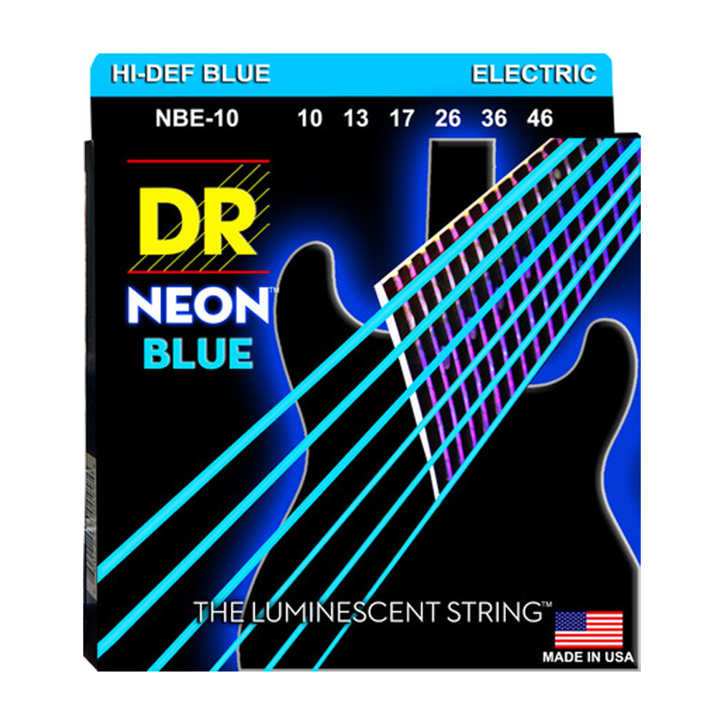 DR K3 Hi-def Neon Blue Luminescent Electric Guitar Strings, Light 09-42 Or Medium 10-46